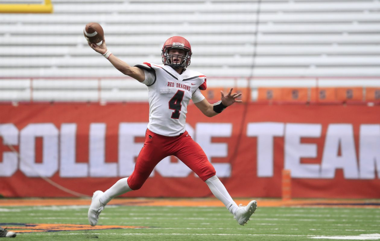 Maple Grove quarterback Easton Tanner throws against Cambridge during second half action of the Class D New York State Championship game at the Carrier Dome on Friday, Nov. 24, 2017. (Harry Scull Jr./News file photo)