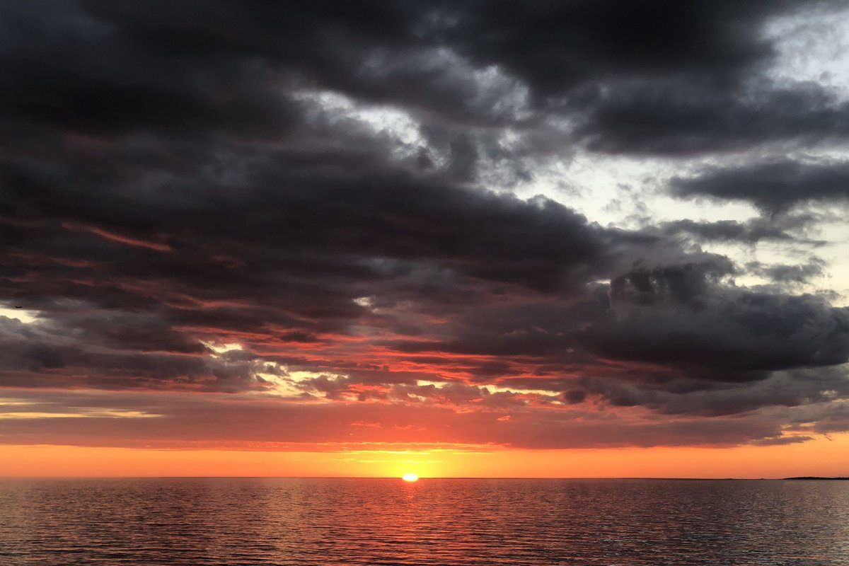 The sunset over Lake Erie from Athol Springs after an 85-degree high temperature on Friday. (T.J. Pignataro/Buffalo News)