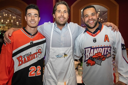 Helped by head chefs from Bacchus and Black Iron Bystro, former Sabres Marty Biron and Andrew Peters tangled with two local neurosurgeons in a cooking battle to benefit PUCCS, Program for Understanding Childhood Concussion & Stroke, on Thursday, Sept. 20, 2018 at the Adam's Mark Hotel. See who helped sample the food and determine the winner.
