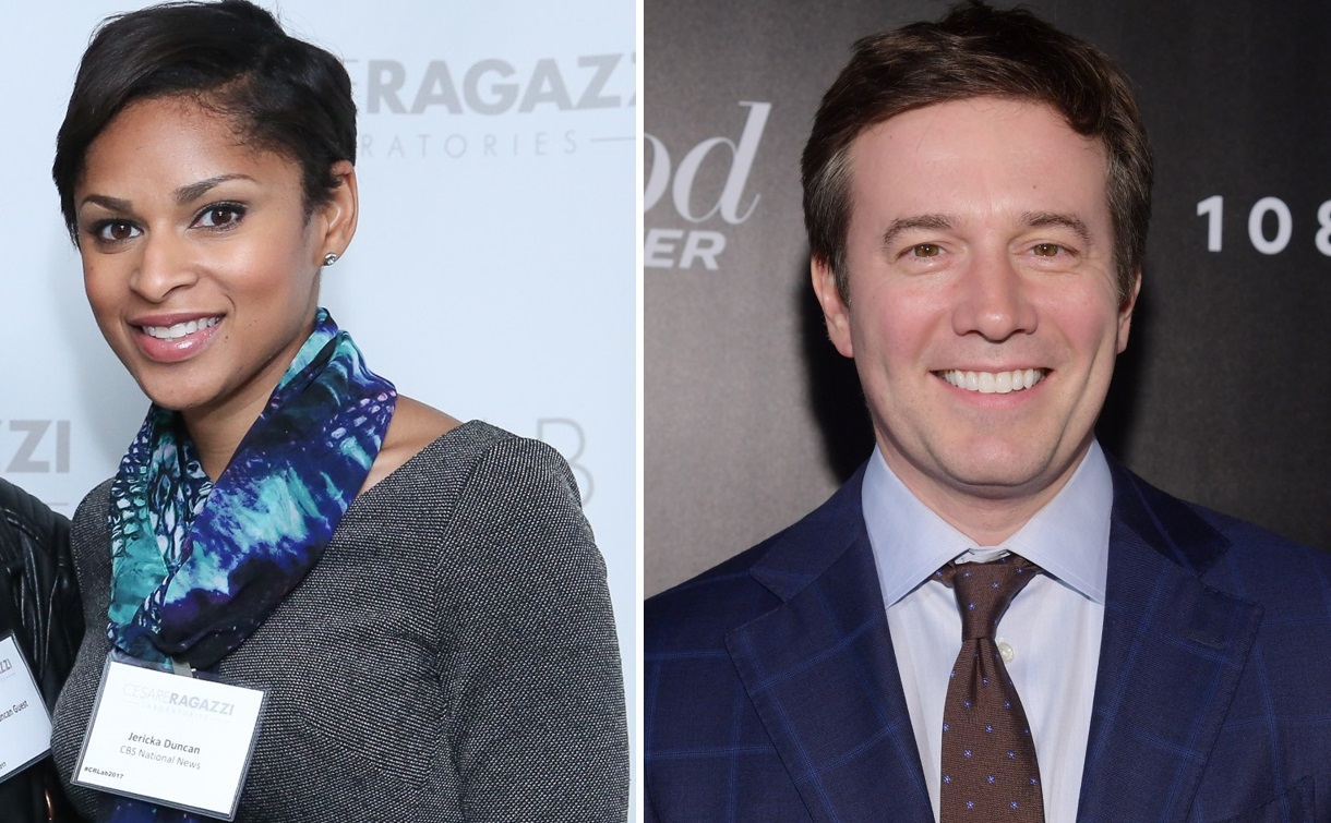 CBS News' Jericka Duncan, left, reported on the firing of two male executives at her own company. Jeff Glor, right, backed Duncan's work. (Getty Images)