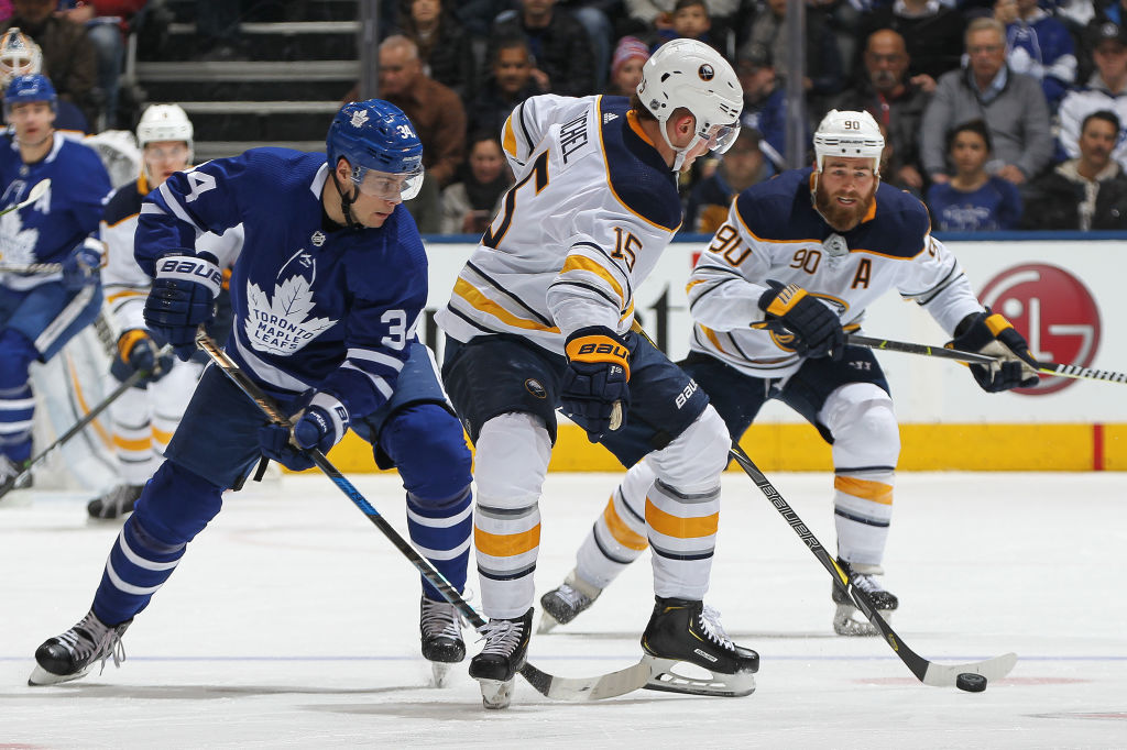 Jack Eichel and Auston Matthews will meet Saturday night in KeyBank Center (Getty Images).