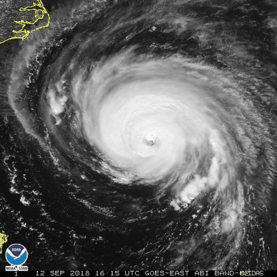 The National Oceanic and Atmospheric Administration's image of Hurricane Florence as it approached the Carolinas on Tuesday afternoon.