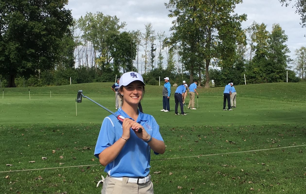 St. Mary's freshman Kaylin Kline earned a starting spot on the Lancers' boys golf team. Kline played varsity soccer and basketball for Pioneer as a seventh-grader before she was diagnosed with a heart condition that forced her to give up those sports. (Jonah Bronstein/Buffalo News)
