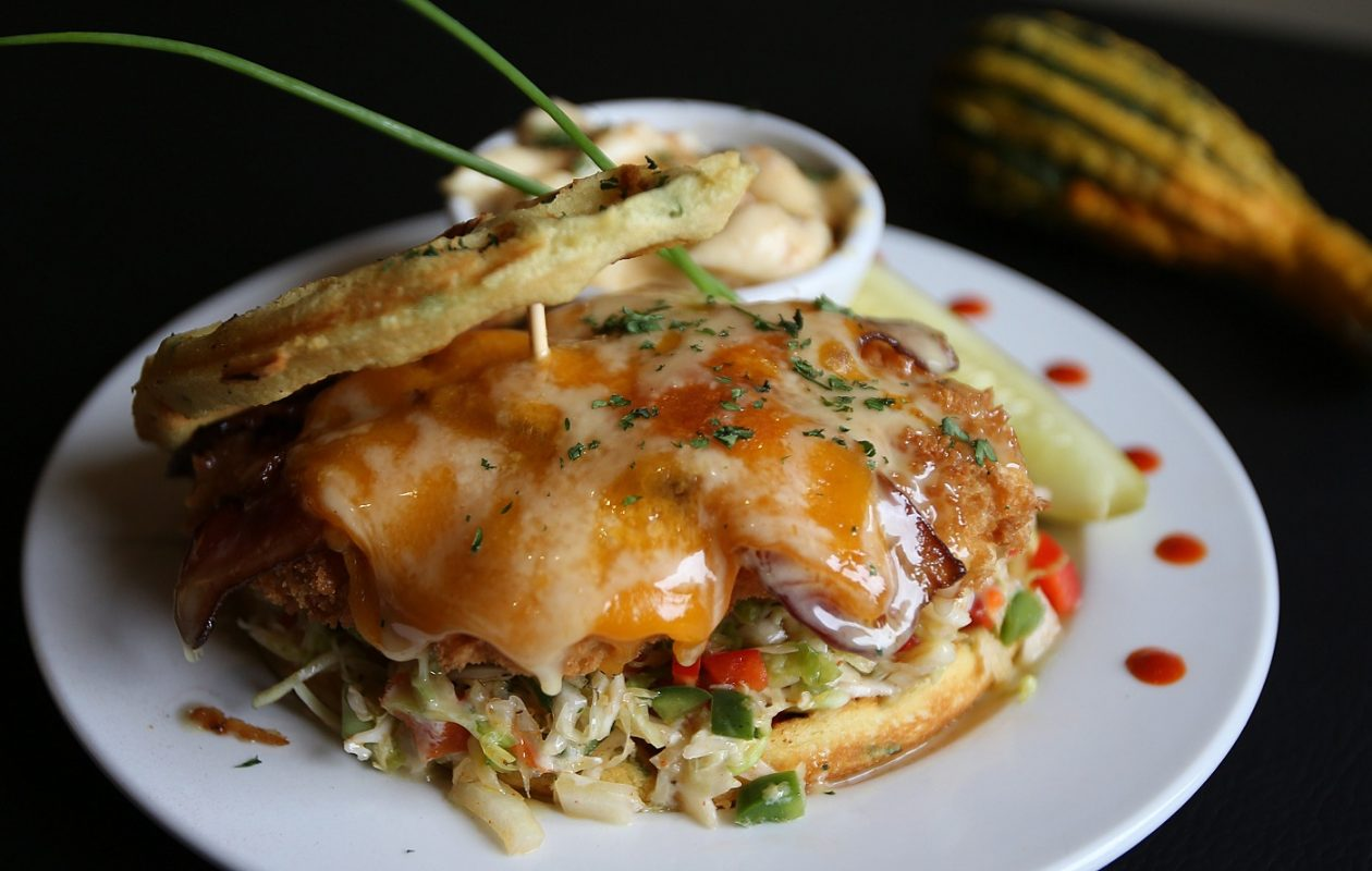 Griffon Gastropub's popular chicken and waffle sandwich inspired a smaller dish to be served at the Taste of East Aurora: chicken and waffles on a stick. (News file photo)