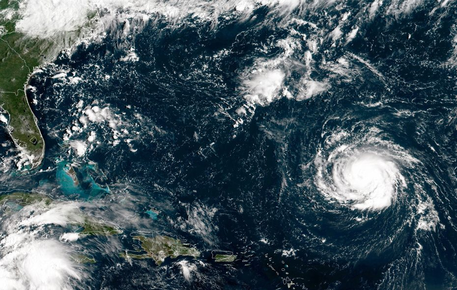 Hurricane Florence as it travels west and gains strength in the Atlantic Ocean southeast of Bermuda on Sept. 10.  (Photo by NOAA via Getty Images)