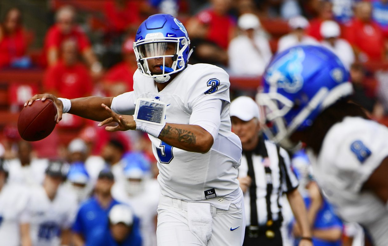 Former UB quarterback Tyree Jackson will play in the Reese's Senior Bowl on Saturday in Mobile, Ala. (Getty Images)