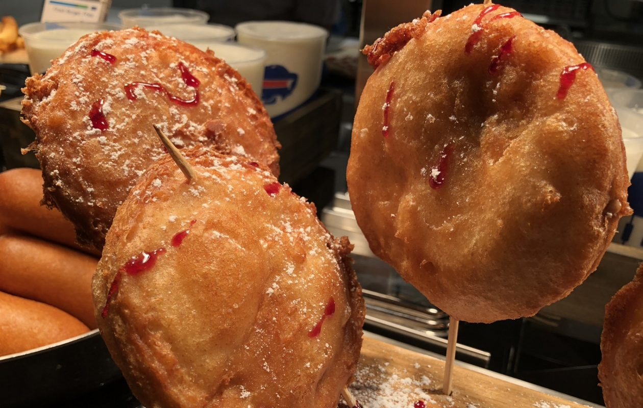 The deep-fried peanut butter and jelly - on a stick, but served in a boat - is among the new Bills concessions. (Ben Tsujimoto/Buffalo News)