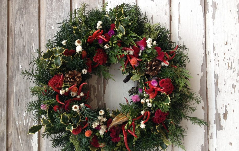 Horticulturist Nellie Gardner creates wreaths from flowers she dries herself and other natural materials such as berries and peppers. (Photo courtesy Nellie Gardner)