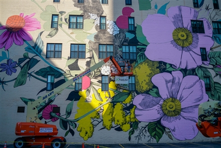 A new mural blooms downtown