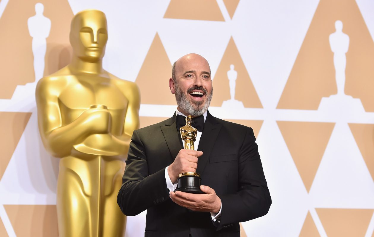 Niagara Falls native and costume designer Mark Bridges, poses with his Oscar for Best Costume Design on 'Phantom Thread.' He will be honored at the Niagara Falls International Film Festival. (Getty Images)