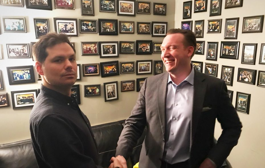Democratic congressional candidate Nathan McMurray, right, tweeted this picture of himself with comedian Michael Ian Black in March.