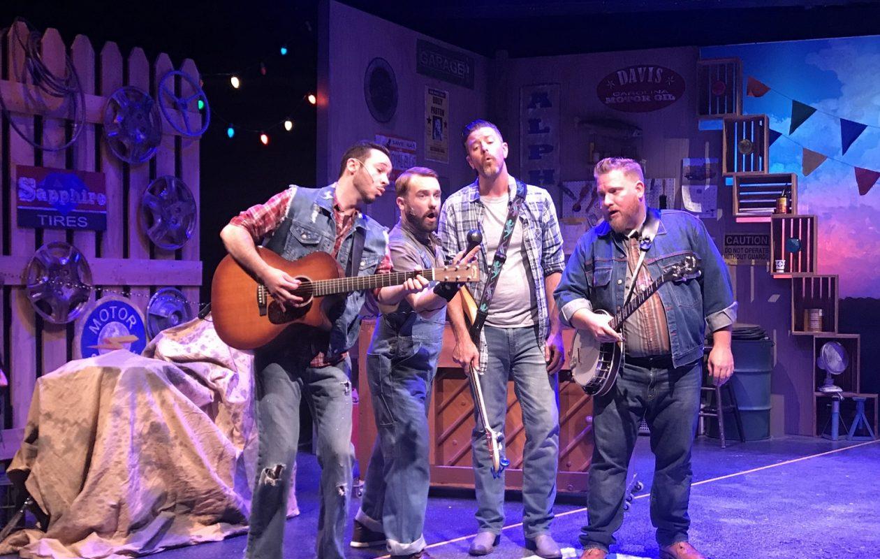 Ryan Kaminski, left, Joseph Donohue III, Andrew J. Reimers and Jayson Clark in MusicalFare's 'Pump Boys & Dinettes.' (Photo by Doug Weyand)