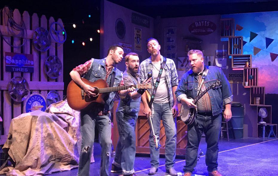 "Ryan Kaminski, left, Joseph Donohue III, Andrew J. Reimers and Jayson Clark in MusicalFare's ""Pump Boys & Dinettes."" (Photo by Doug Weyand)"