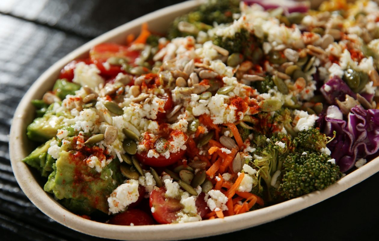 Newbury Salads' spicy quinoa crunch bowl is made with spicy quinoa, raw organic corn, red cabbage, spicy broccoli, carrots, grape tomatoes, avocado, spicy sunflower seeds, toasted pumpkin seeds, feta and a jalapeño lime cilantro dressing.. (Sharon Cantillon/News file photo)