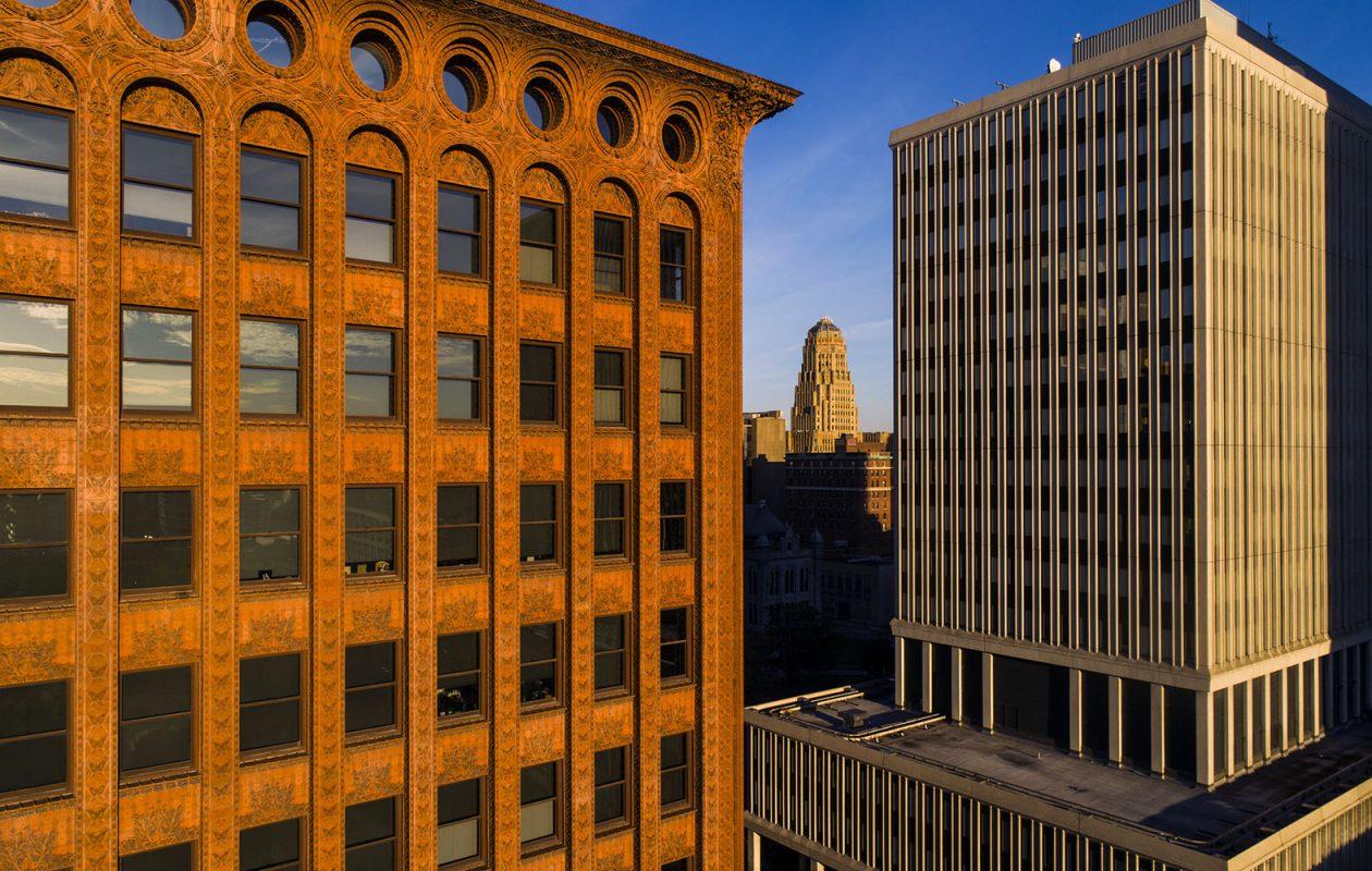The sun rises behind the Buffalo skyline. (Derek Gee/News file photo)