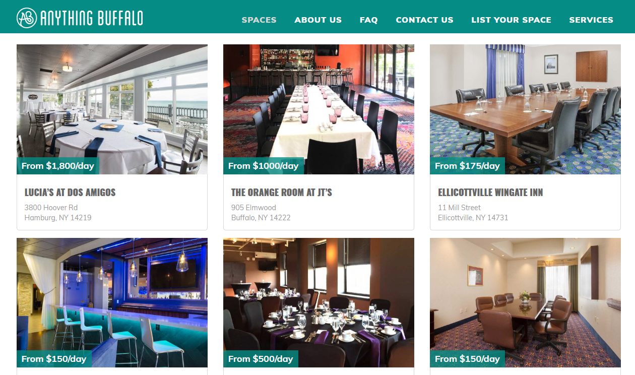 AnythingBuffalo.com is an online event space aggregator. (Website screenshot)