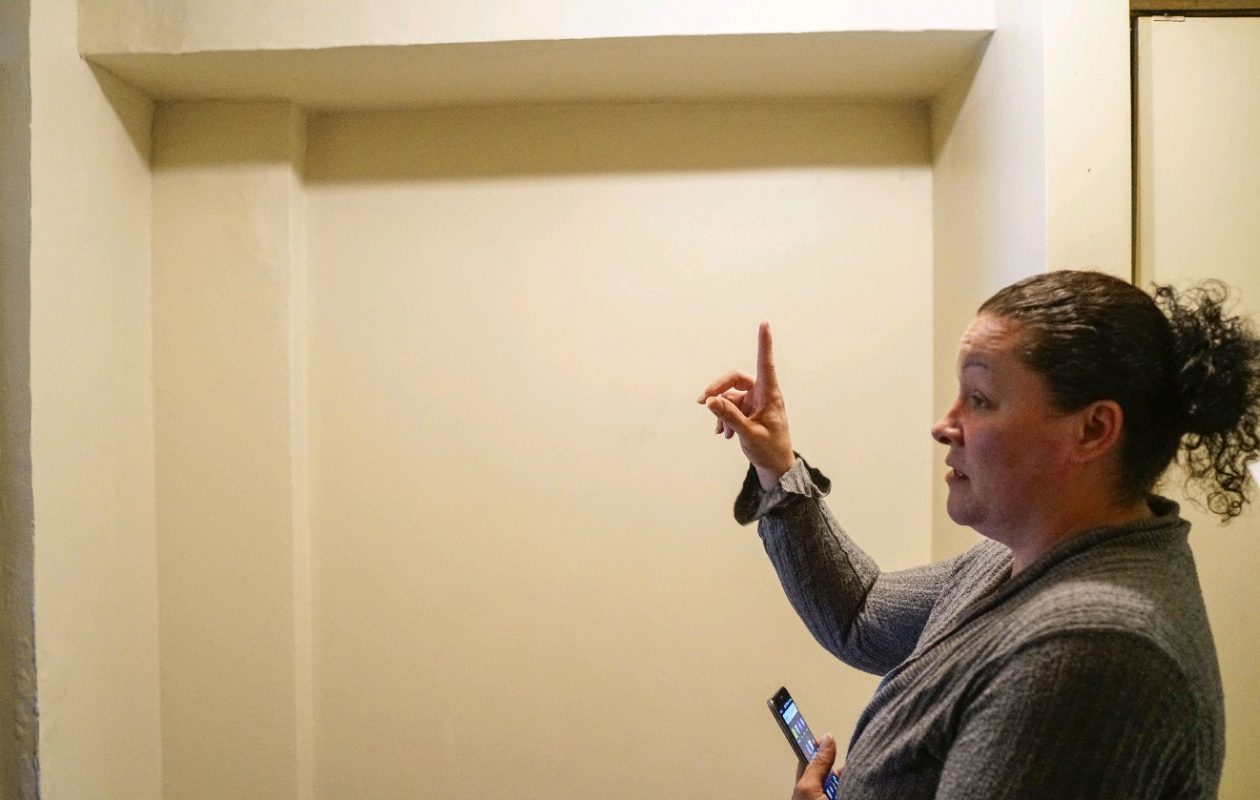 A ceiling in Cheryl Donohue's  Commodore Perry apartment was repaired in September, when this photo was taken.  But  Donohue said this week that the leak creating the problem was never repaired, and mold in the ceiling was never removed.  The ceiling is once again leaking, she said.   (Derek Gee/Buffalo News)
