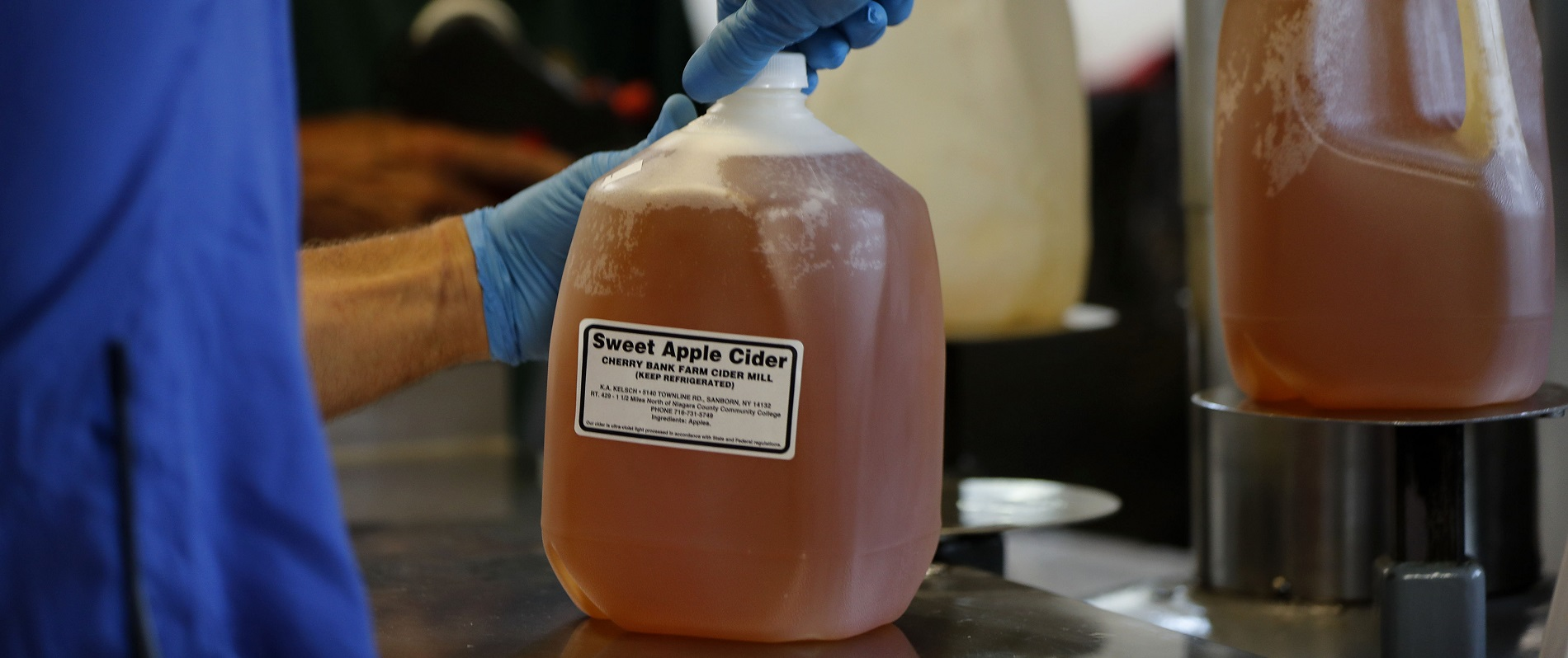 """Of Cherry Bank Farm's apple cider, Fran Kelsch says, """"If we were a bigger company and had advertising, we'd say, 'Our cider is like drinking your apple' – it's got that fresh flavor."""" (Mark Mulville/Buffalo News)"""