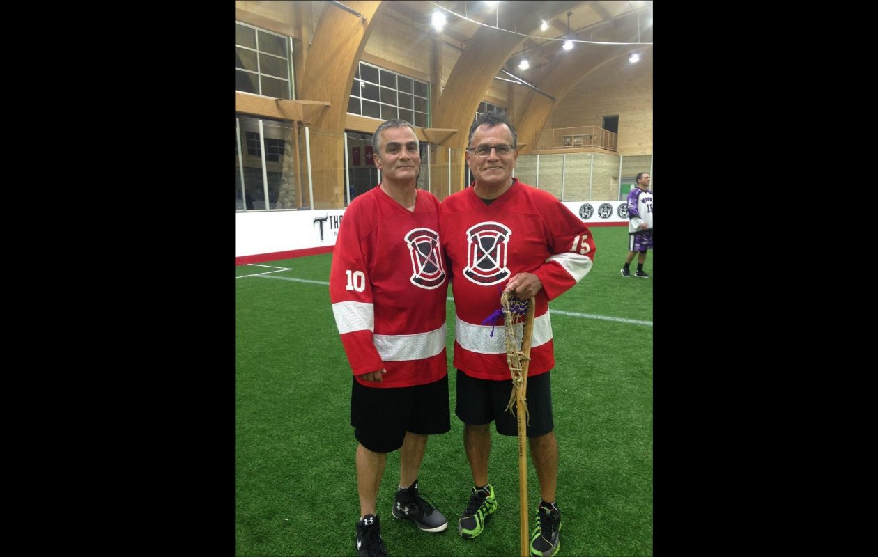 Tom Hall (left) with his older brother Randy Hall, a Mohawk and a lacrosse legend within the Six Nations. (Family photo)