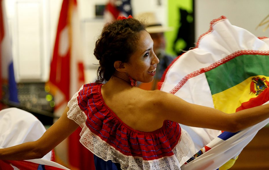 Folk dancer performs at Hispanic Heritage month kick-off at Buffalo Central Library in 2014. (Robert Kirkham/News file photo).