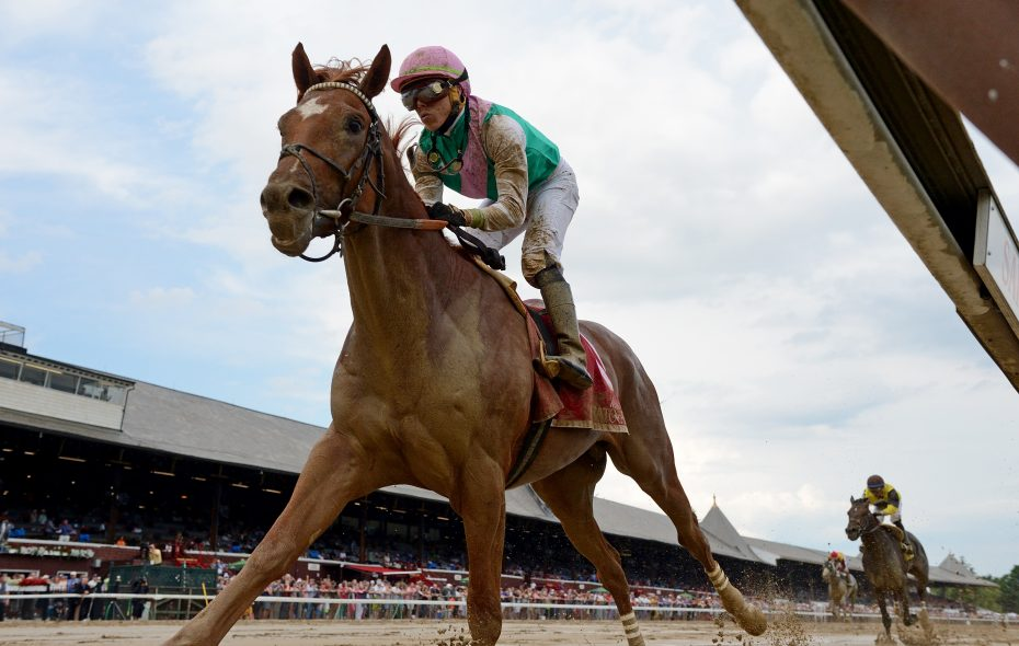 Hofburg splashed home a winner in the Curlin Stakes at Saratoga Race Course. (Chelsea Durand/NYRA)