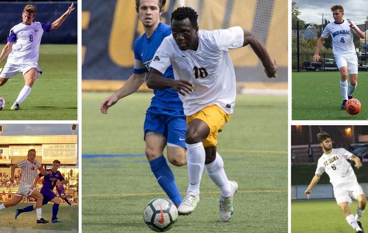 Bautista Pedezert, upper left, from Niagara Athletics; August Finn, lower left; Melvin Blair, middle, via Canisius College; Mitchell Ali, upper right; Nicola Bonso, lower right, via St. Bonaventure.