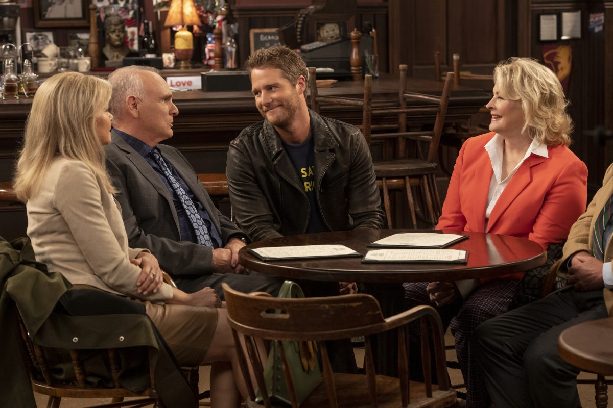 Faith Ford, left, Joe Regalbuto, Jake McDorman and Candice Bergen star in CBS' 'Murphy Brown' reboot. (David Giesbrecht/Warner Bros.)