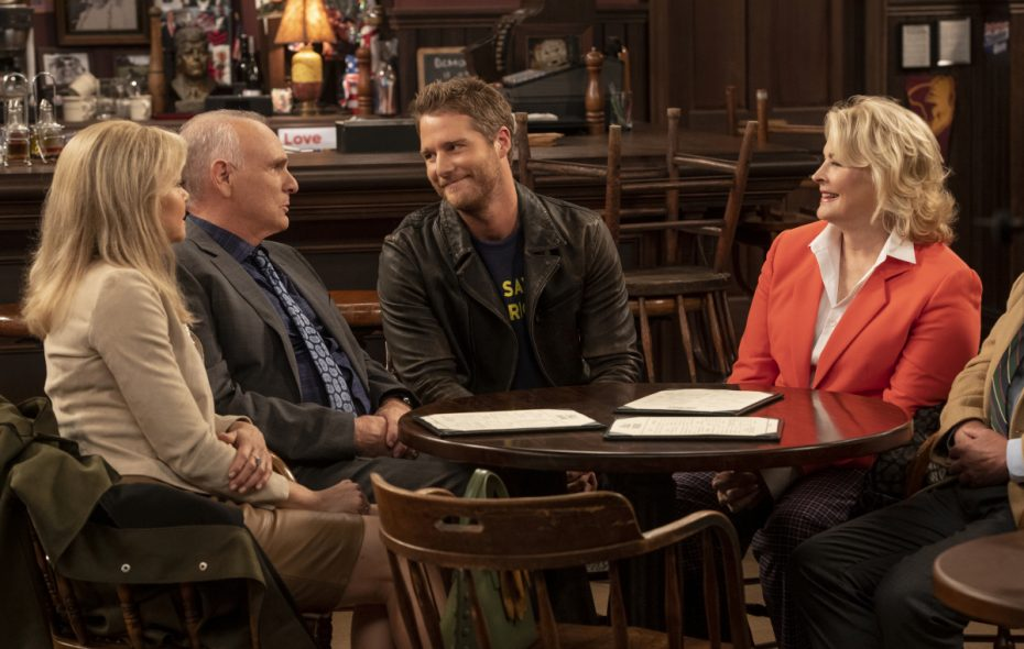 "Faith Ford, left, Joe Regalbuto, Jake McDorman and Candice Bergen star in CBS' ""Murphy Brown"" reboot. (David Giesbrecht/Warner Bros.)"