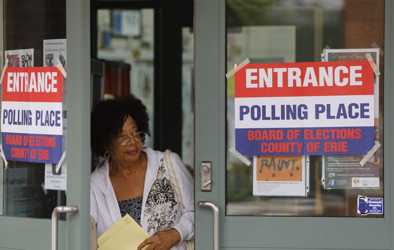Eleanor Gayles-Davis emerges from the Delevan-Grider Community Center after casting her vote in the primary election on Thursday. (Derek Gee/Buffalo News)