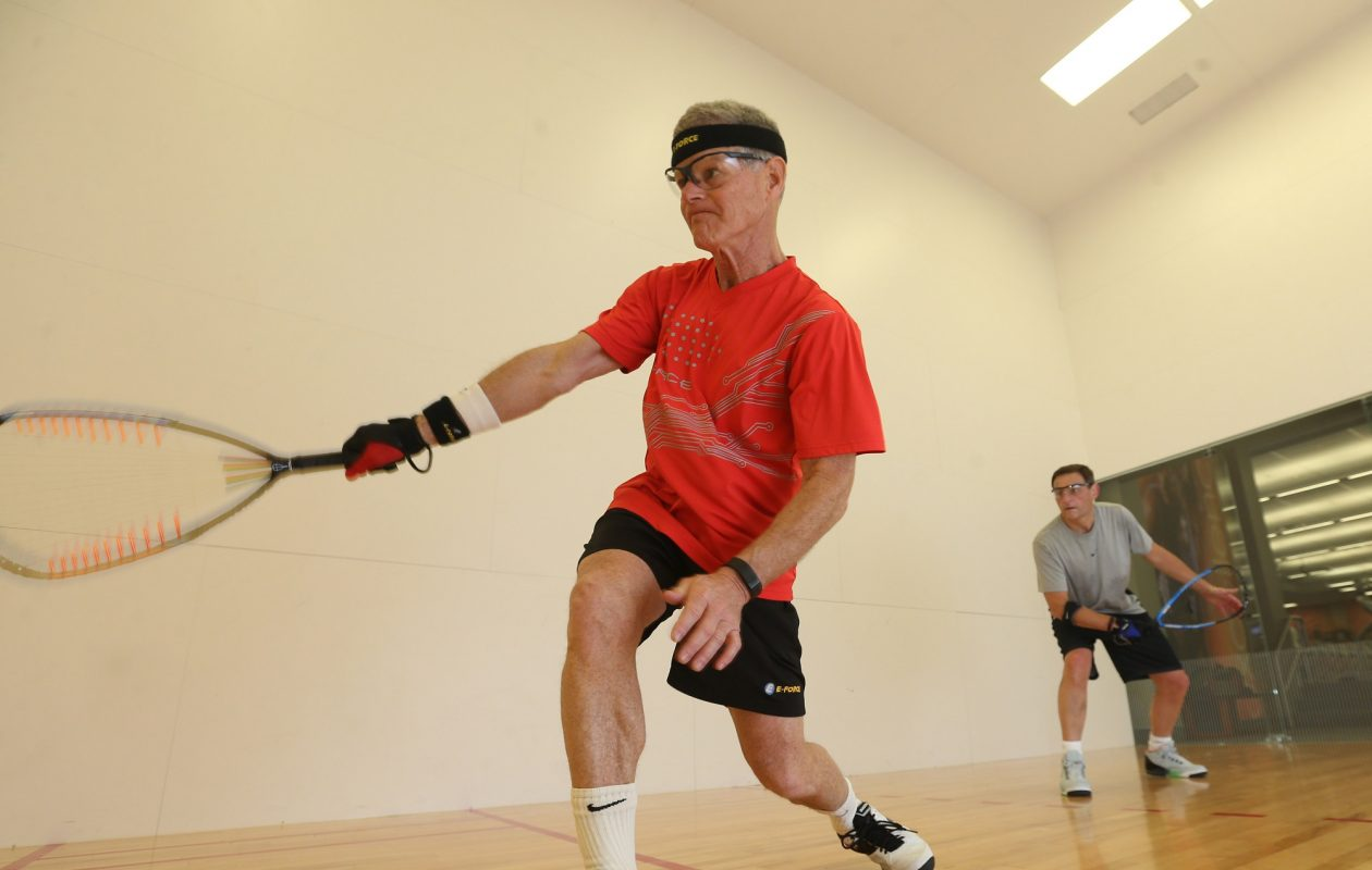Greg Maliken, left, of Amherst, and Dan Deschenes, of the Town of Tonawanda, play racquetball regularly and wouldn't dream of doing so without their protective goggles.  (Sharon Cantillon/News file photo)