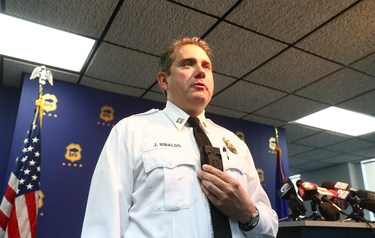 Buffalo Police Capt. Jeff Rinaldo, discussing the department's pilot program for body-warn cameras in March 2018, says officials will meet with the Police Advisory Board. (John Hickey/News file photo)