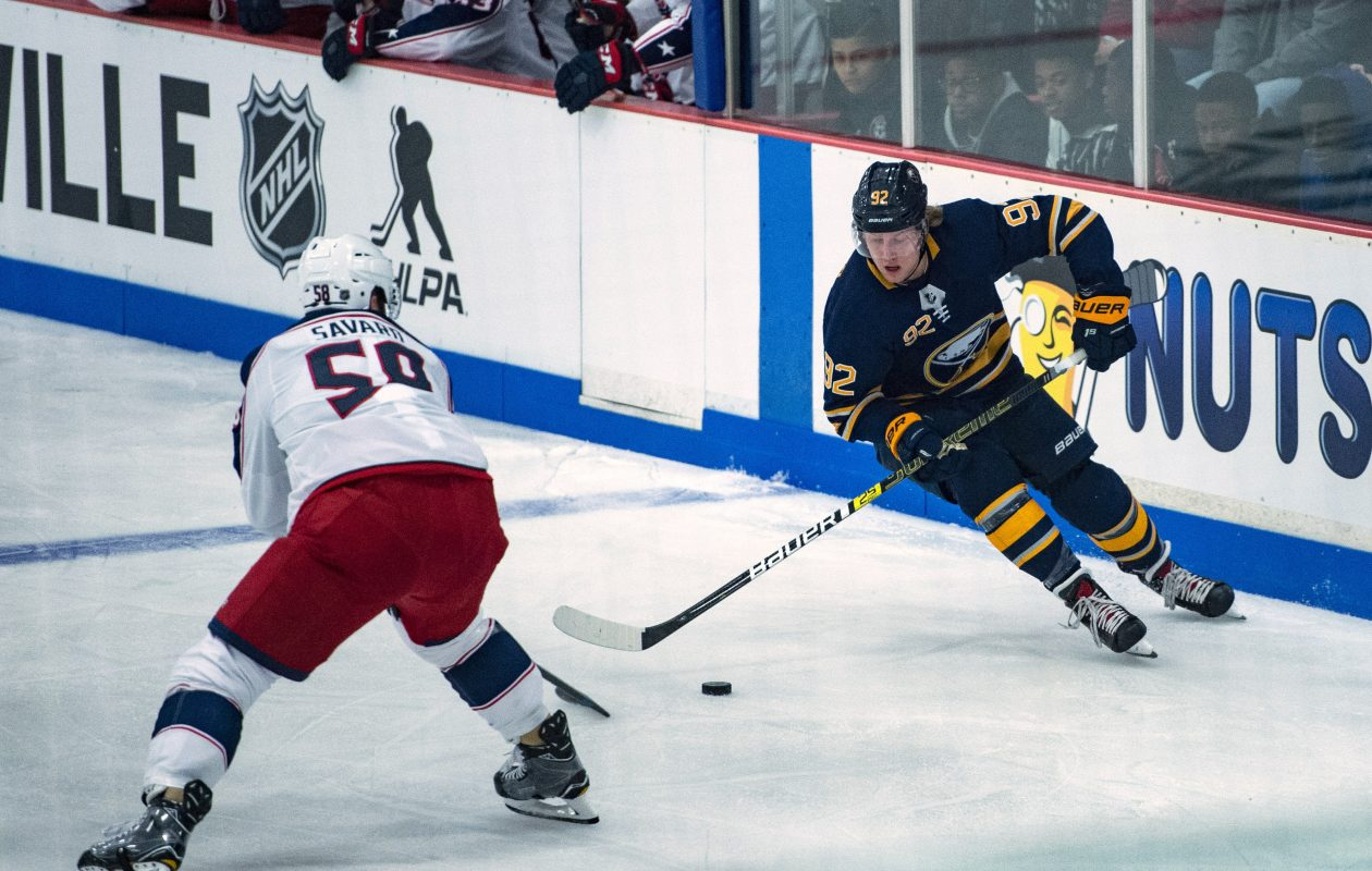 Sabres winger Alexander Nylander skates against Columbus defenseman David Savard during the first period Tuesday night in Clinton. (Photo by Gregory Fisher/Icon Sportswire via Getty Images)