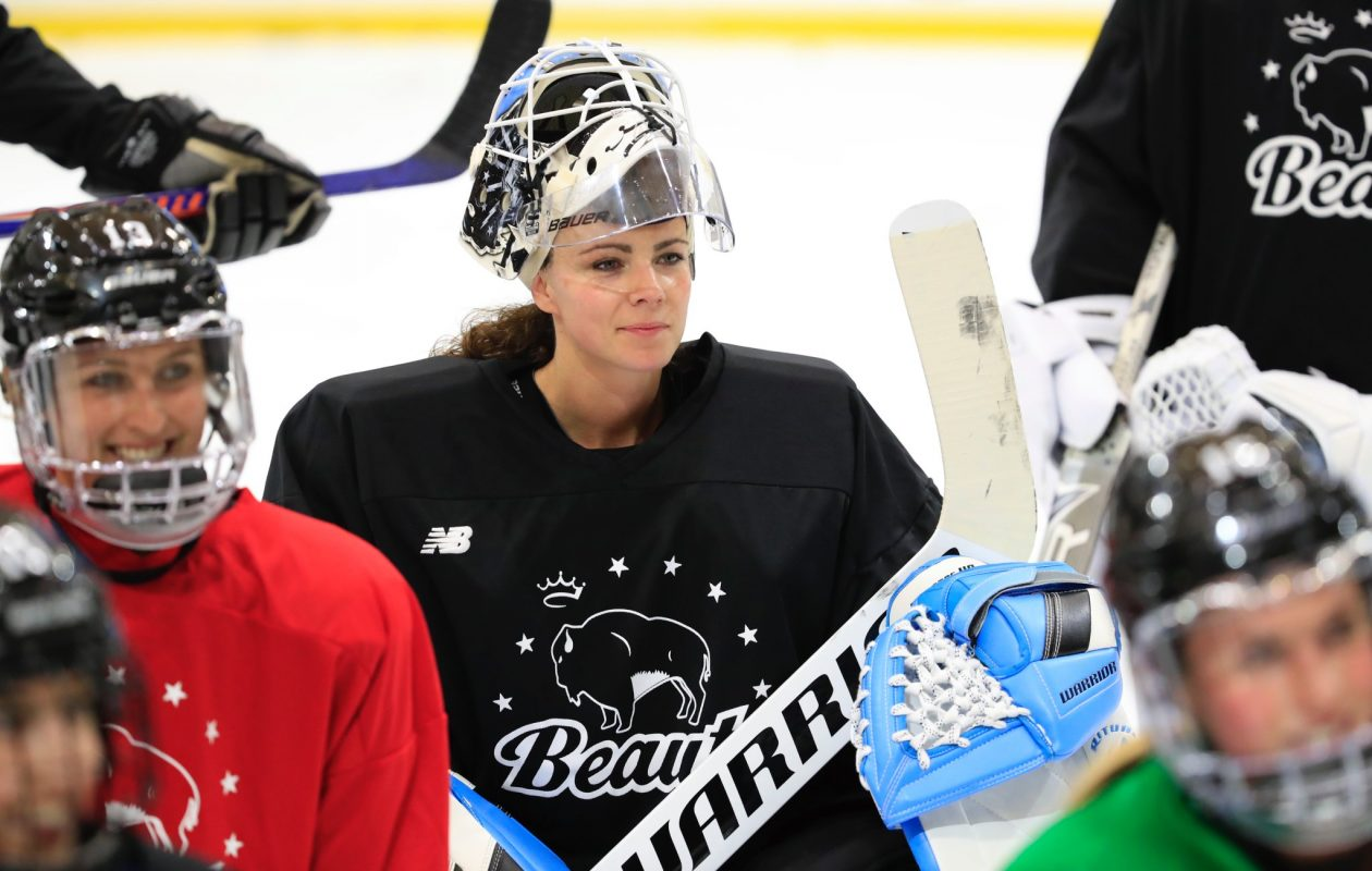 Shannon Szabados took the ice for Beauts training camp in HarborCenter. (Harry Scull Jr./Buffalo News)