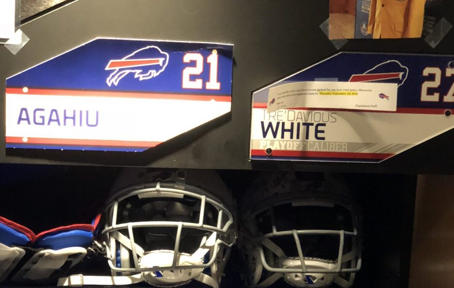 The Buffalo Bills' Tre'Davious White keeps the nameplate of Drew Agahiu next to his above his locker for inspiration. Agahiu is a part of the Stone's Buddies program at Oishei Children's Hospital. The Bills signed the 9-year-old to a one-day contract in the summer and he took part in the open practice at New Era Field, running for a 20-yard touchdown. (Vic Carucci/Buffalo News)