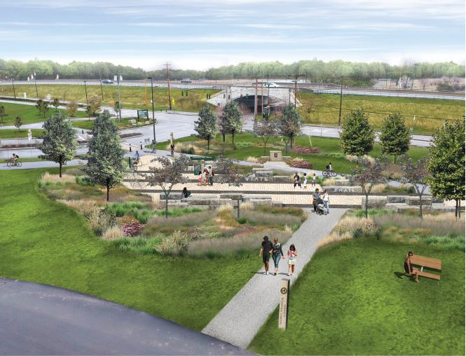 Rendering of proposed trail gateway at Buffalo Harbor State Park. (Photo courtesy of New York State Parks)