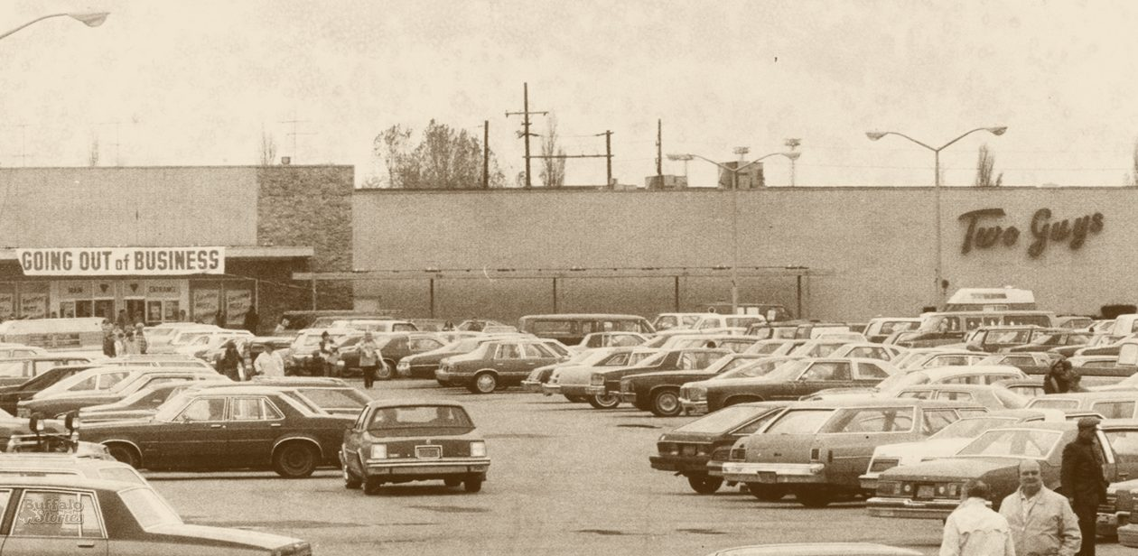 The two area Two Guys stores, including this one at the corner of Niagara Falls Boulevard and Sheridan Drive, were among the 36 major stores that closed in Buffalo during an 18-month period in  the early 1980s. (Buffalo News archives)