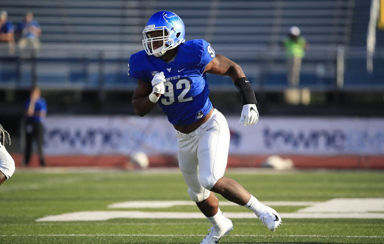 University at Buffalo defensive end Chuck Harris.(Harry Scull Jr./ Buffalo News)