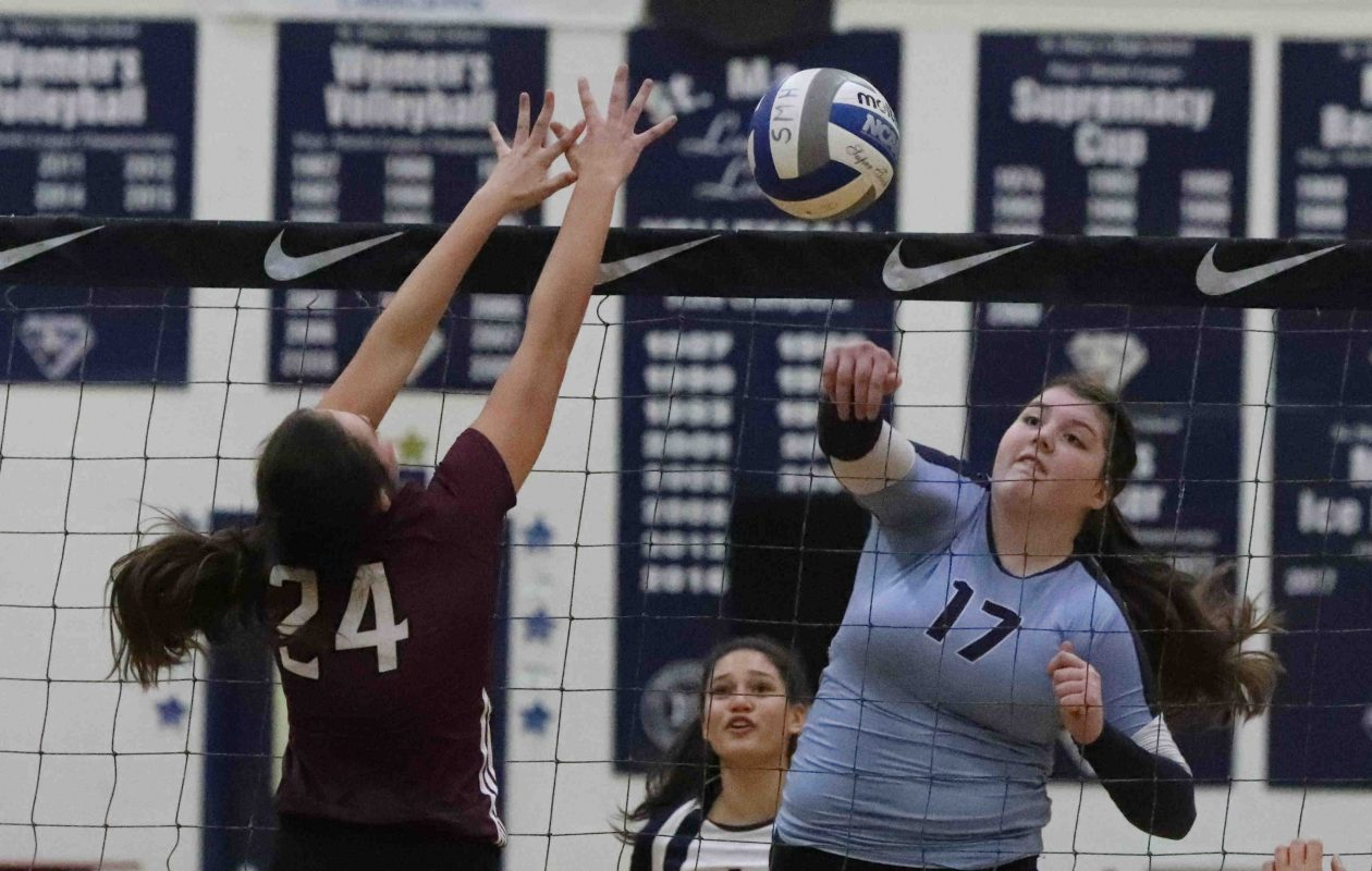 St. Mary's of Lancaster's Hannah Mulhern goes in for the kill during a recent match against Portville. (James P. McCoy/News file photo)
