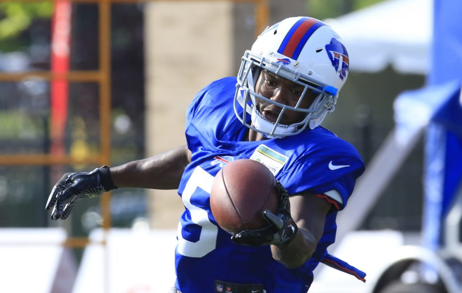 Bills receiver Cam Phillips makes a catch during training camp. (Harry Scull Jr./News file photo)