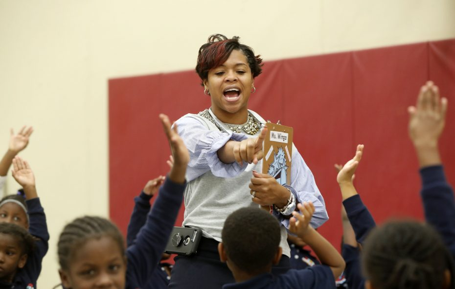 Students seem eager in JoAnna Wingo's character and fitness class at Persistence Preparatory Academy, one of two new charter schools in Buffalo. (Mark Mulville/Buffalo News)