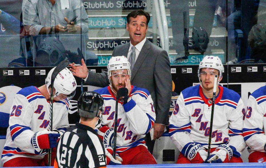 New York Rangers head coach David Quinn talks to an official betwen plays during the second period against the Buffalo Sabres at KeyBank Center, Saturday, Oct. 6, 2018. (Derek Gee/Buffalo News)