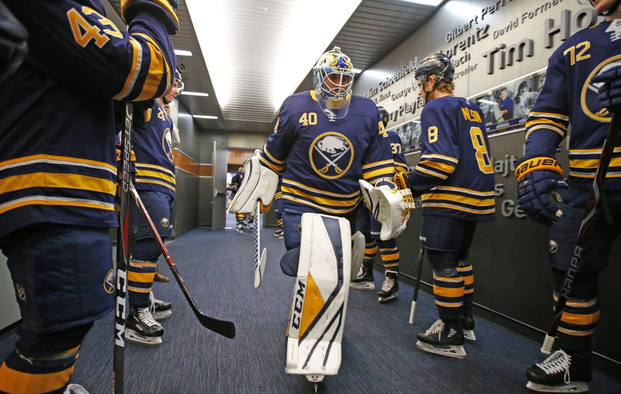 Goalie Carter Hutton and the Buffalo Sabres host the Colorado Avalanche Thursday. (Harry Scull Jr./News file photo)