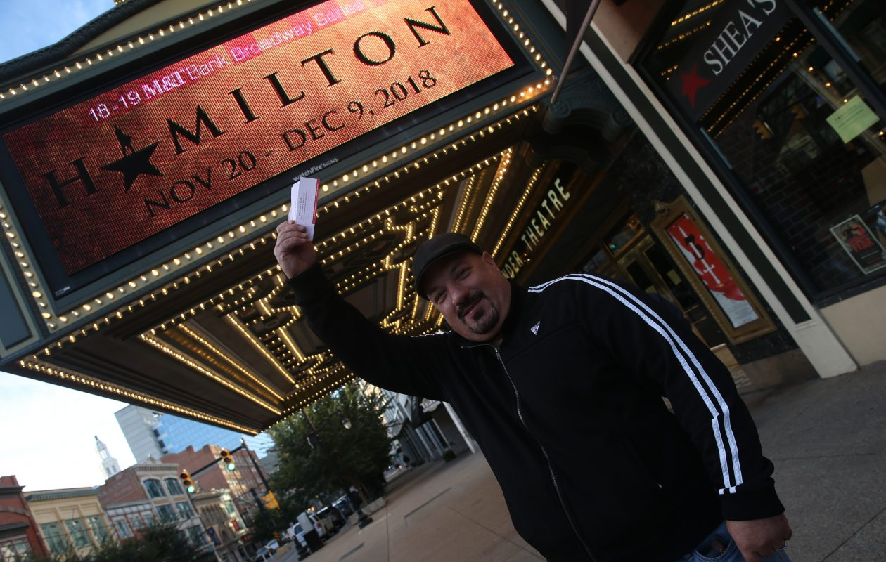Louie Burgess of Buffalo was the first one in line able to buy tickets for 'Hamilton' at Shea's Performing Arts Center. (John Hickey/News file photo)