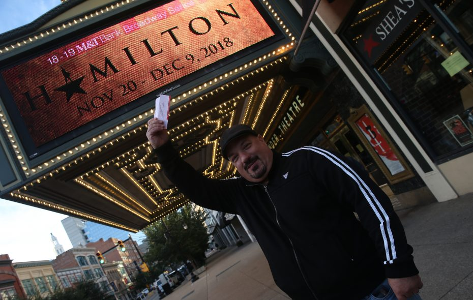 "Louie Burgess of Buffalo was the first one in line able to buy tickets for ""Hamilton"" at Shea's Performing Arts Center. (John Hickey/News file photo)"