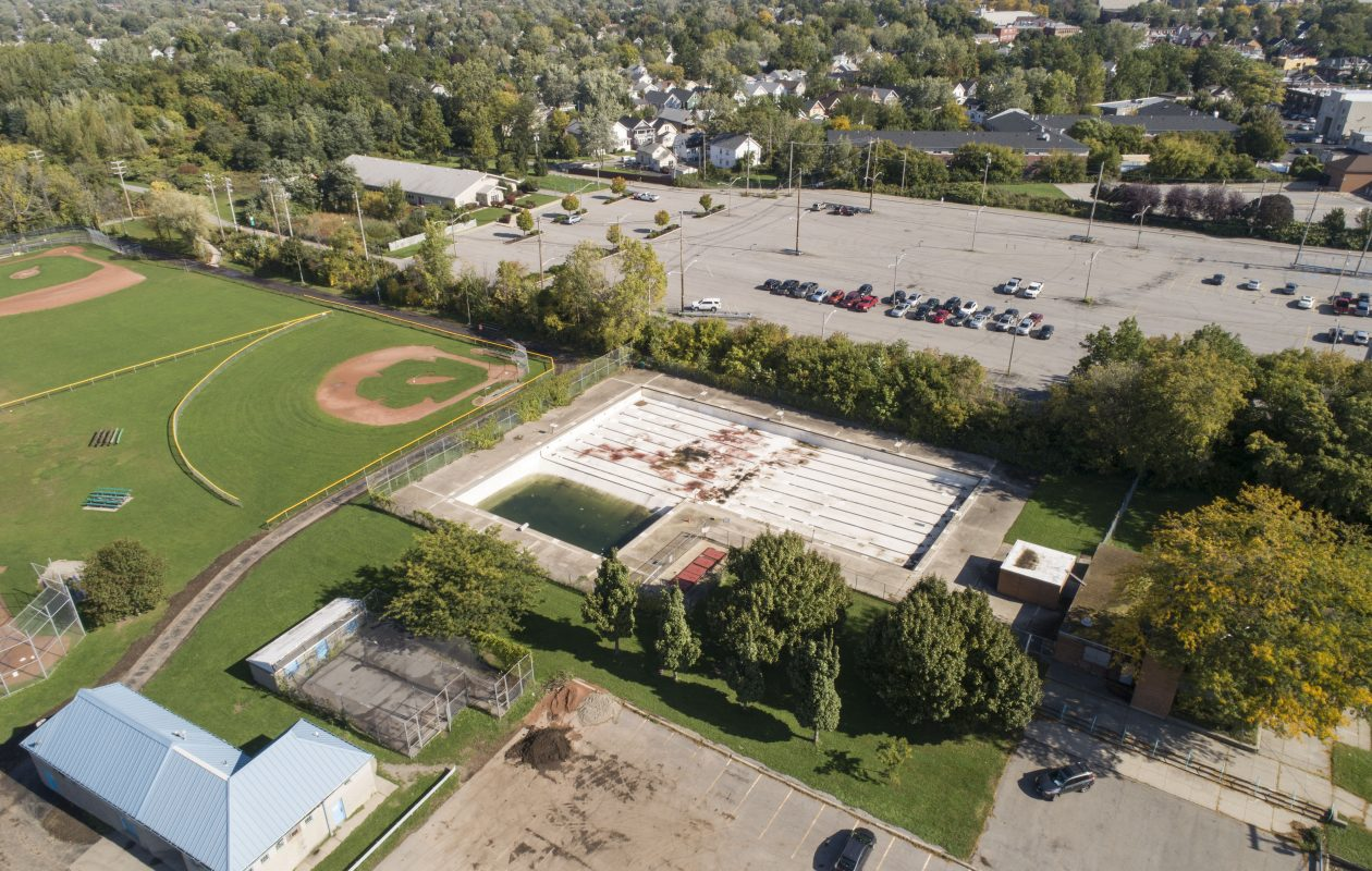 Shoshone Park in North Buffalo, pictured on Tuesday, Oct. 9, 2018. The current parking lot is in the foreground and the large NFTA parking lot is the background. (Derek Gee/Buffalo News)