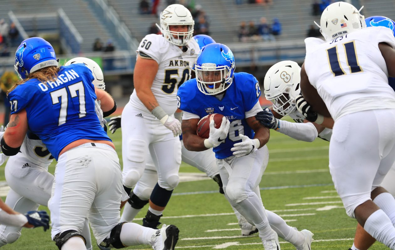 Jaret Patterson of the UB Bulls runs the ball inside Akron's 5-yard line in the third quarter of Saturday's game against the Akron Zips in UB Stadium. (Sharon Cantillon/Buffalo News)