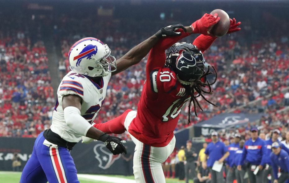 Texans wide receiver DeAndre Hopkins catches a touchdown pass over Bills cornerback Tre'Davious White  in the first quarter on Sunday, Oct. 14, 2018. (James P. McCoy/Buffalo News)