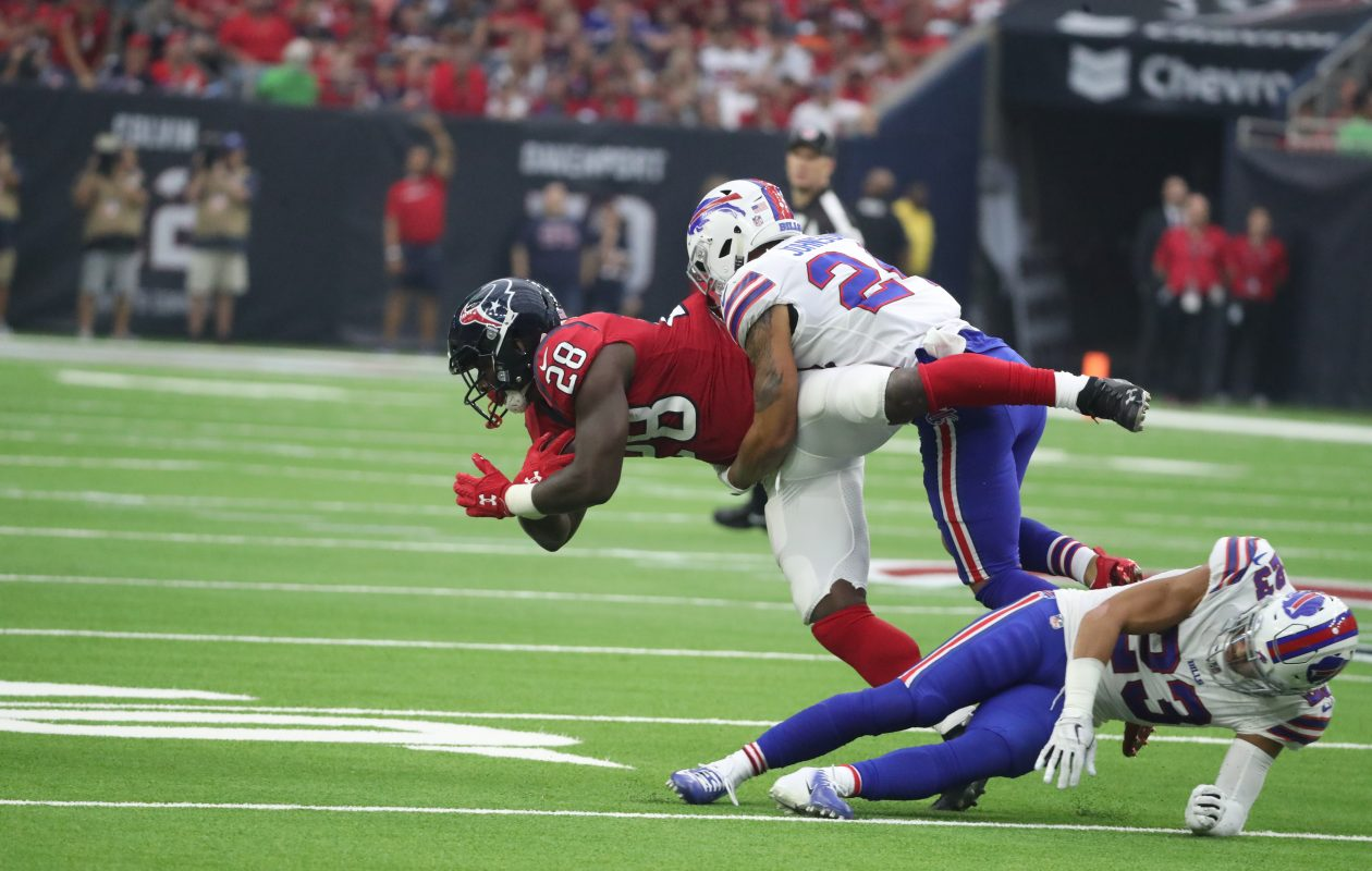 Taron Johnson, shown tackling Houston's Alfred Blue, has been the primary third cornerback. (James P. McCoy/News file photo)