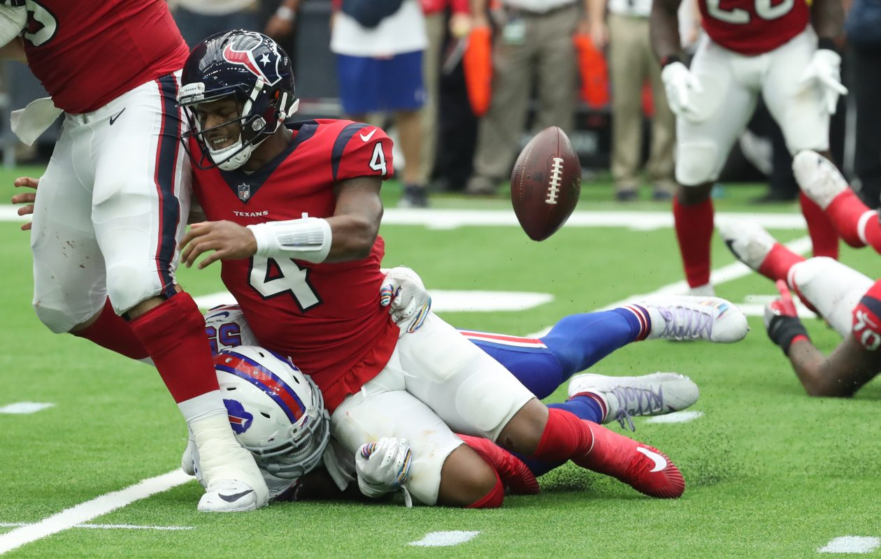 Bills defensive end Jerry Hughes and his fellow pass rushers tormented Texans quarterback Deshaun Watson on Sunday. (James P. McCoy/Buffalo News)