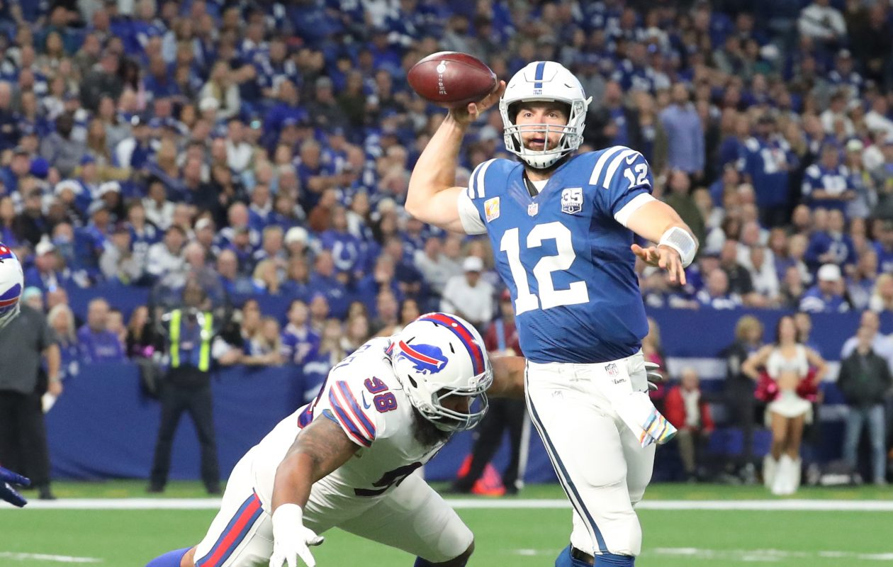 Indianapolis Colts quarterback Andrew Luck out runs Buffalo Bills defensive tackle Star Lotulelei for six yards  in the fourth quarter at Lucas Oil Stadium in Indianapolis on Sunday, Oct. 21, 2018. (James P. McCoy/Buffalo News)
